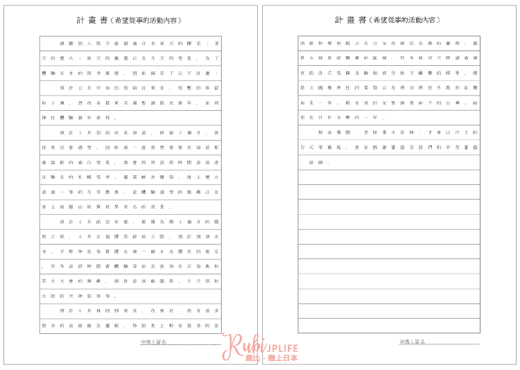 日本打工度假簽證申請必備文件「計畫書」