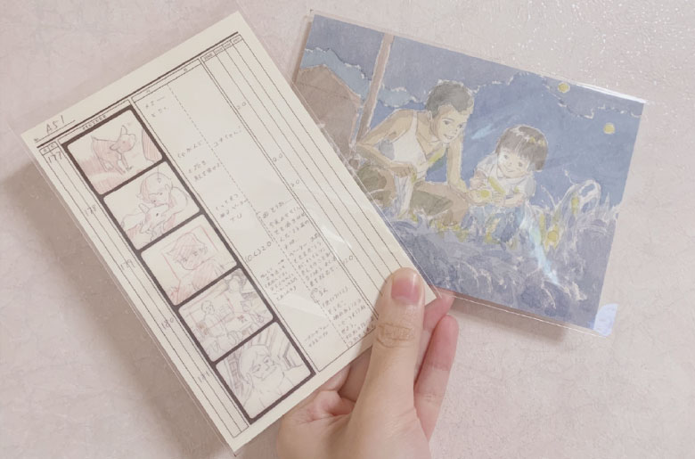 《阿爾卑斯山的少女》和《螢火蟲之墓》的明信片