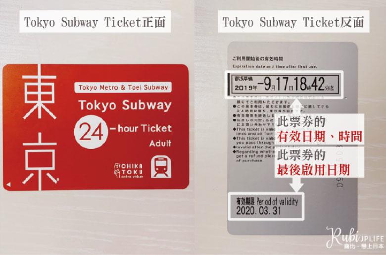 「Tokyo Subway Ticket」實體照,正反面