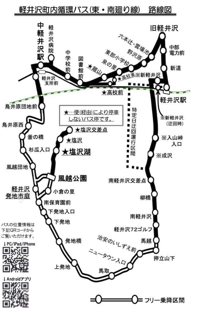 軽井沢町内循環バス(東・南廻り線)路線圖