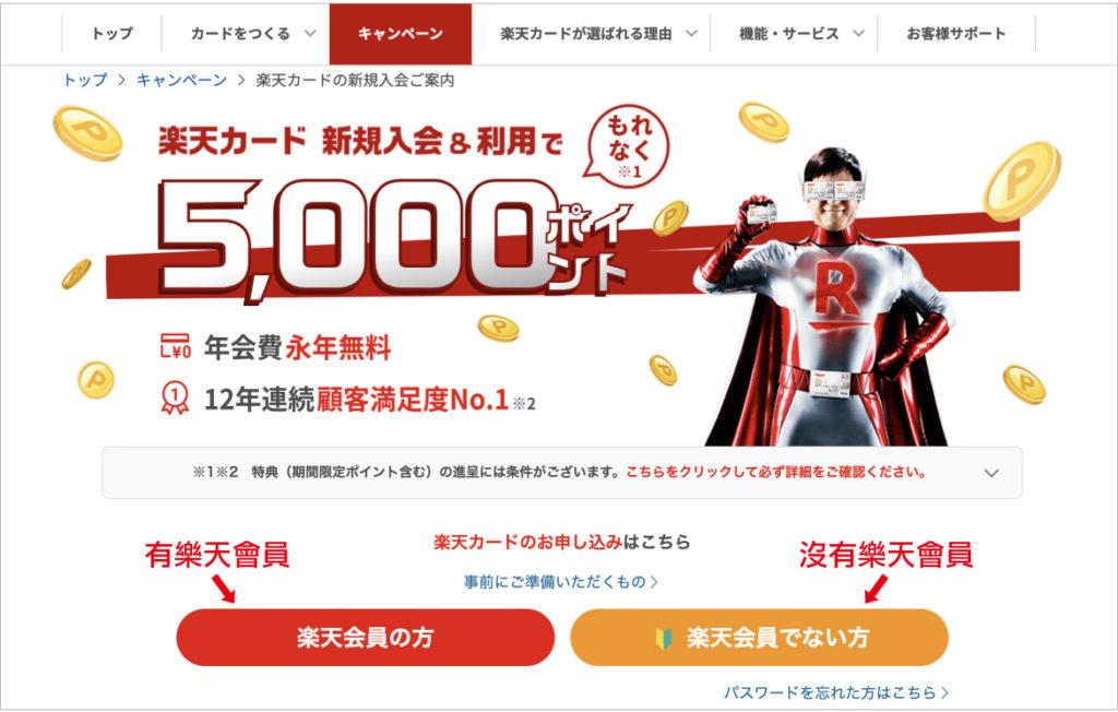 日本樂天信用卡官網